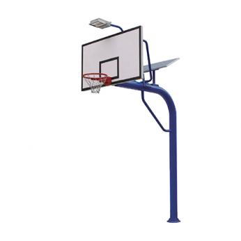 Tiang basket outdoor permanen dengan lampu tenaga surya